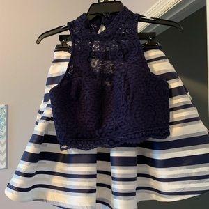 Junior 2 piece skirt/sleeveless lace top